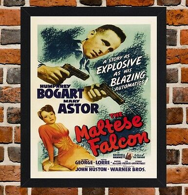 Framed The Maltese Falcon Movie Poster A4 / A3 Size In Black / White Frame