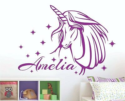 Unicorn Personalised Name Girls Bedroom Decor Vinyl Wall Sticker Decal Window