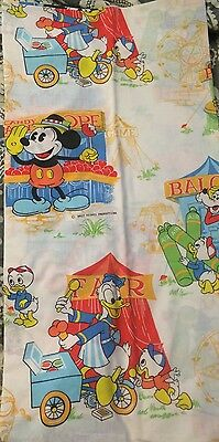 Vintage 1980's Walt Disney Fitted Bed Sheet Micky Goofy Donald