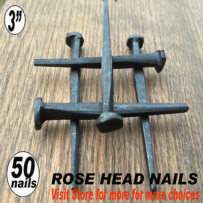 "(50) 3""~ ROSE HEAD DECORATIVE NAILS - Rustic Antique Wrought Style- 10d"