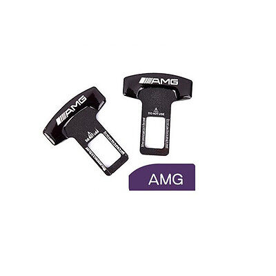 Pair universal AMG logo car safety seat belt buckle alarm stopper clip clamp