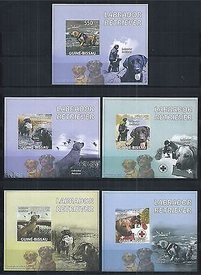 GUINEE GUINEA BISSAU 2009 BLOCK SET MiNr: 4349 - 53 ** IMPERF HUNDE DOGS CHIENS