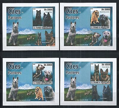 Sao Tome And Principe 2008 Block Set ** Imperf Dogs Hunde
