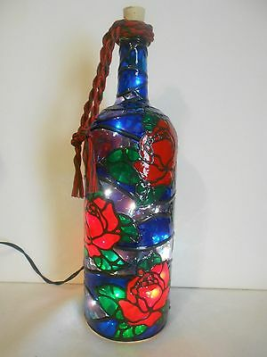 Pretty Roses Inspiered Hand Painted Lighted Wine Bottle Stained Glass look