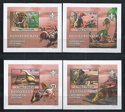 Sao Tome And Principe 2007 Block Set Imperf ** Prehistoric Animals Dinosauros