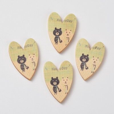 10pcs Printing Wood Cabochons for Valentine Jewelry Lead Free Heart OliveDrab