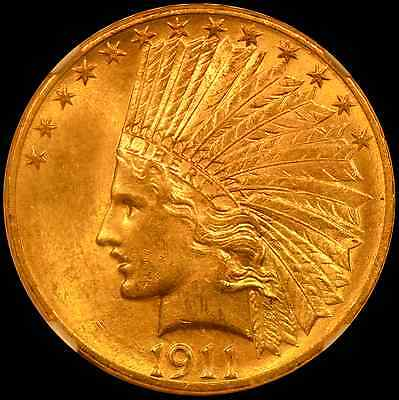 1911 $10 Indian Head Gold Eagle NGC MS63