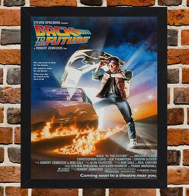 Framed Back To The Future Movie Poster A4 / A3 Size In Black / White Frame.