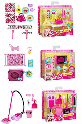 Barbie Home Accessories Set Microwave, House Cleaning, Kitchen Breakfast