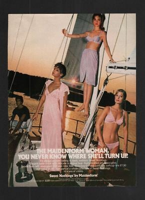 1980s Magazine 8.5x11 Print Ad~Maidenform Sweet Nothings~Sailing~Women~A250