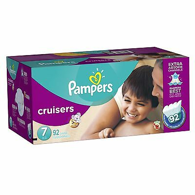 Pampers Cruisers Diapers, Economy Plus Pack, Size 7, 92 Count -- New