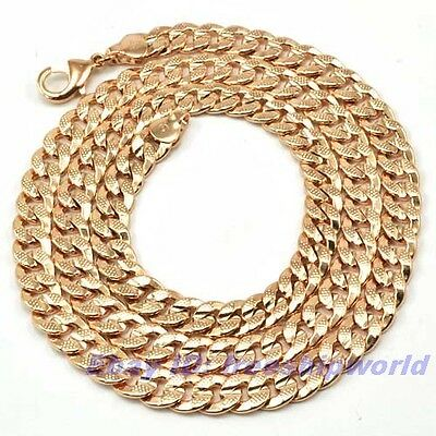 """3pcs Wholesale 23.4""""7mm41g REAL DIGNIFIED 18K ROSE GOLD GP NECKLACE SOLID FILL"""