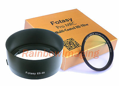 Bayonet Lens Hood as ES-68 & 49mm MRC Nano UV Filter for CANON EF 50mm f1.8 STM