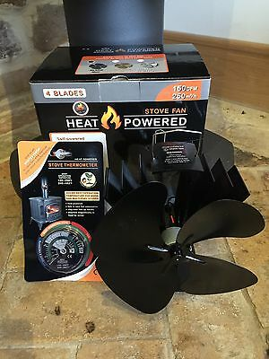 heat powered stove top fan eco friendly 4 blade plus thermometer for wood burner