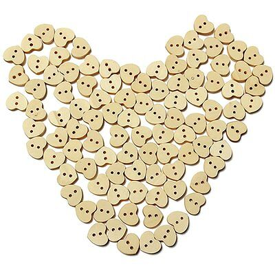100pcs Nature Wood Wooden Buttons Sewing DIY Craft Heart Shape 2 Holes SS
