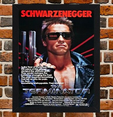 Framed The Terminator Movie Poster A4 / A3 Size Mounted In Black / White Frame