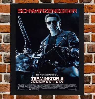 Framed Terminator 2 Judgment Day Movie Poster A4 / A3 Size In Black/White Frame