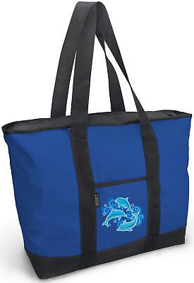 DOLPHIN Tote Bag for Travel or Shopping! ZIPPERED TOP-STRONG STRAPS!