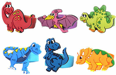 6 Dinosaur Rings - Finger Pinata Loot/Party Bag Fillers Wedding