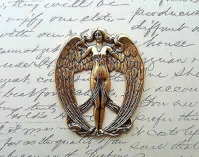 Large Matte Gold Ox Brass Victorian Angel Stamping (1) - GOFF1133