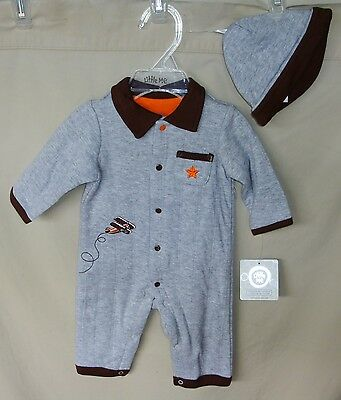 Little Me 100% Cotton Grey HIGH FLYER Coverall with Matching Hat BOY SIZES NWT