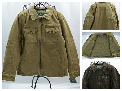 Men's G.H. Bass & Co Canvas Utility Lined Zip Up Brown Warm Jacket/Coat Size XL