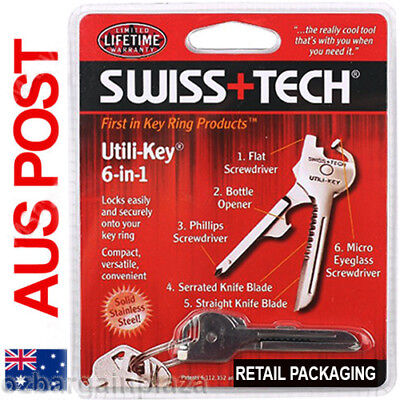 Stainless Steel SWISS+TECH Tool Utili Key 6 in 1 EDC Keychain Multi-Tool Keyring