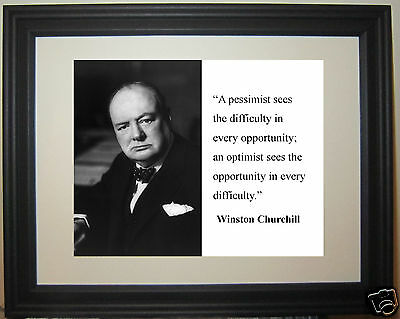 """Winston Churchill """"pessimist"""" Famous Quote Framed Photo Photograph #ps1"""