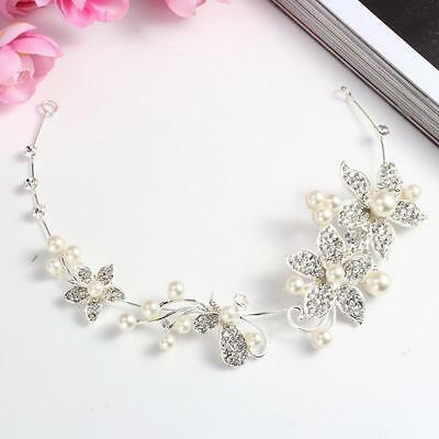 1×Pearl Flower Crystal Rhinestone Wedding Bridal Headband Clip Hair Band Tiara