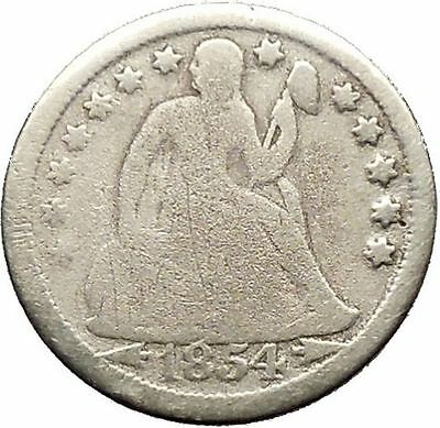 1854 Seated Liberty Dime United States of America 10 Cent Silver Coin i53622