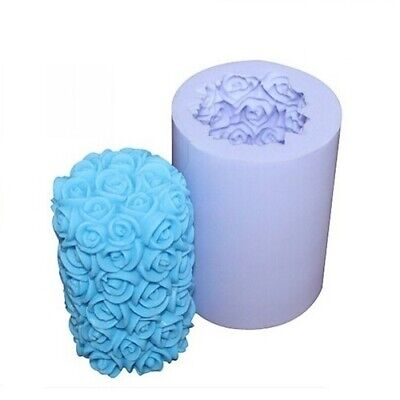 3D Rose Flower Cylinder Candle Mold Cake Decorating Wax Mold Silicone Soap Mould