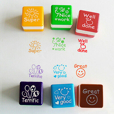 6pcs Teacher Stamper Praise Reward Stamp Motivation Sticker School Interesting