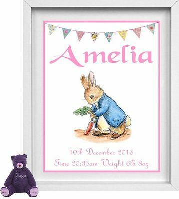NEW BORN BABY | Personalised Picture | Peter Rabbit | Gift | FREE POST| (NP009)