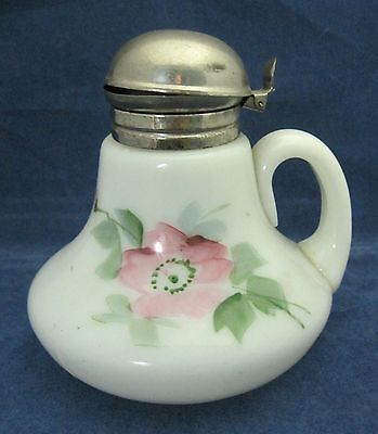 Victorian Milk Glass Syrup with Metal Top & Hand Painted Pink Flower NICE! SHP