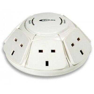 Philex 6 Way 1M Surge Protected Kitchen Powerdome Extension Lead Dome Rotoplug