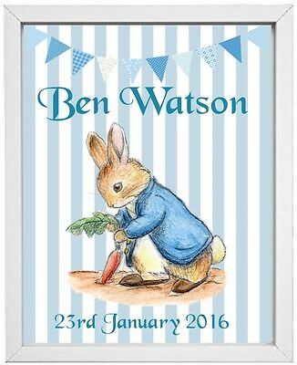 BABY BOYS NAME | Personalised Picture | PETER RABBIT | Gift | FREE POST |(NP011)