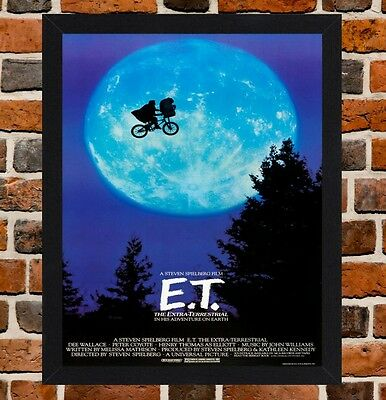 Framed E.T. The Extra-Terrestrial Movie Poster A4/A3 Size In Black/White Frame