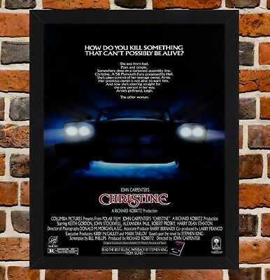 Framed Christine Movie Poster A4 / A3 Size In Black / White Frame