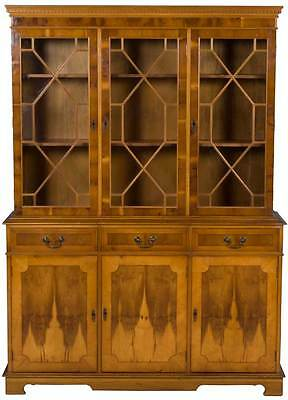 Vintage Antique Style Yew Wood Breakfront Bookcase Cabinet Glass Doors on Top