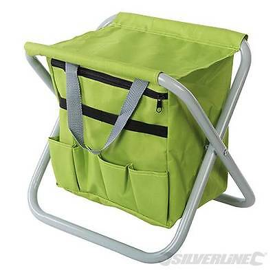 Folding Storage Stool Seat In Canvas With Gardening Tool Bag