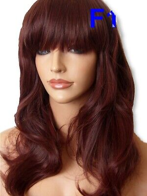 Red Brown Lady Fashion Wig Long Curly natural FULL WOMEN LADIES HAIR WIG F18