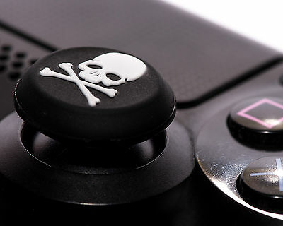 2 x White Skull Bones Silicone Thumb Stick Grip Cover Caps Sony PS4 Controller