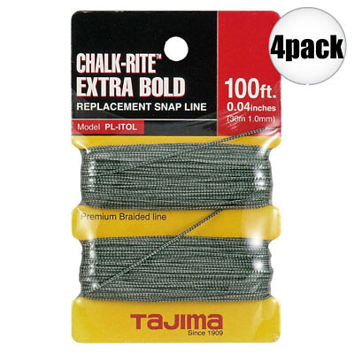 "Tajima 4 Pk 4pk 100 ft .04"" Bold Braided Replacement Chalk Line PL-ITOL New"