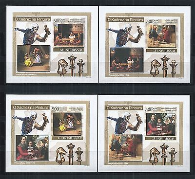 GUINEA BISSAU 2007 BLOCK SET MiNr: 3638 - 41 ** IMPERF CHESS SCHACH PAINTING