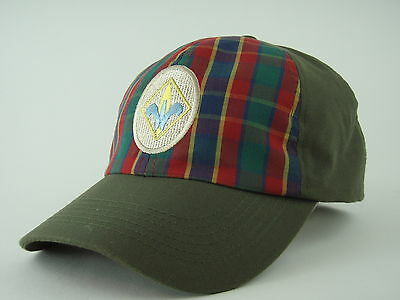 Boy Scouts BSA Logo Green and Plaid Hat Cap - Youth M/L - EUC!