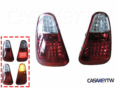 2001-2004 Mini Cooper R50 R52 R53 Jcw Red Clear Led Tail Lights Rear Lamps