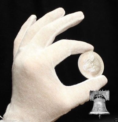 12 Pr White Cotton Inspection Gloves LIGHT DUTY Coin Jewelry Stamps Silver LARGE