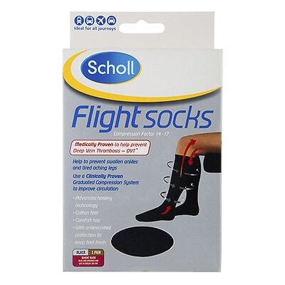 NEW Scholl Flight Socks Compression Of 14-17 Improves Blood Flow Size 3-6