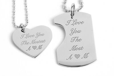 Personalized Stainless Steel Heart&dog Tag Pendant Necklace Front Engraved Free