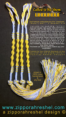 Tzitzit CALLED TO HASHEM Style 100% LINEN for Messianic Jewish tallit GOLD / SKY